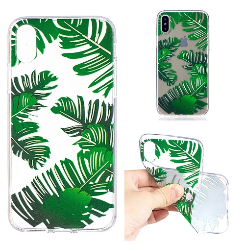 Cartoon Painted Banana Leaf Case Cover Transparent Soft Silicone Case for iPhone 6 7 8 /plus/X
