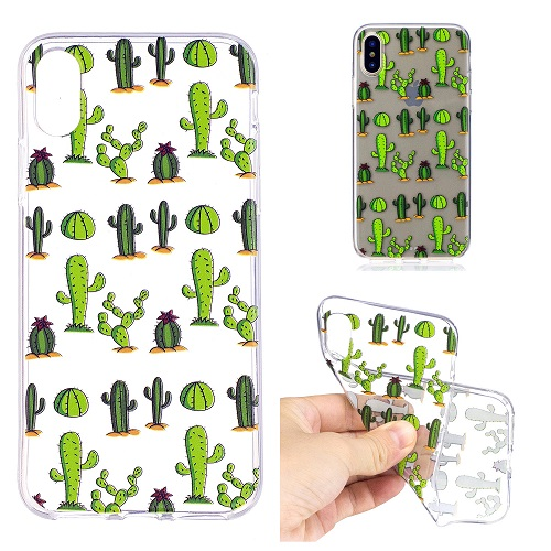 7fa15349a8a Cartoon Painted Cactus Case Cover Transparent Soft Silicone Case for iPhone  6 7 8  plus  X