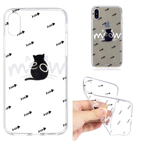 Cartoon Painted Cat Case Cover Transparent Soft Silicone Case for iPhone 6 7 8 /plus/ X