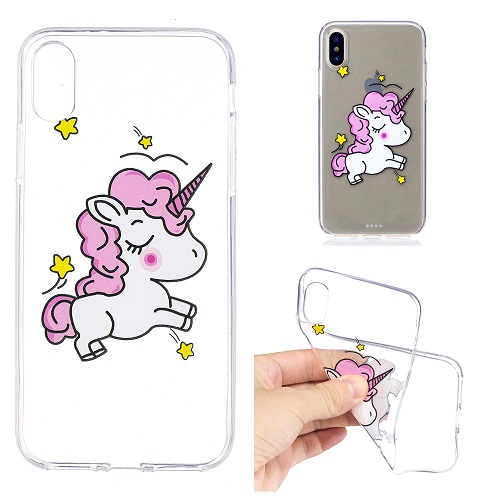 Cute Cartoon Painted Pink Unicorn Case Cover Transparent Soft Silicone Case for iPhone 6 7 8 /plus/ X