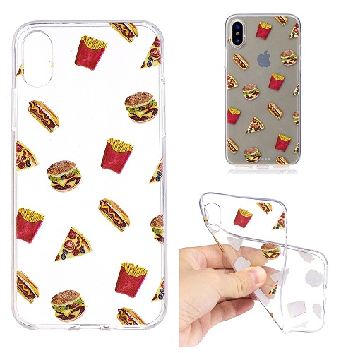 Food Pattern Hamburger Soft Silicone Case Transparent TPU Case Cover for iPhone 6 7 8 /plus/ X