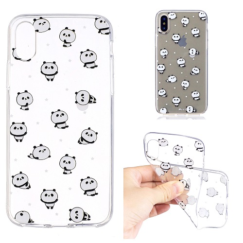 Cute Cartoon Painted Panda Case Cover Transparent Soft Silicone Case for iPhone 6 7 8 /plus/ X