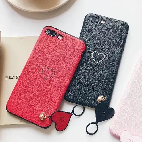 Fashion Love Heart Ring Pendant Phone case Lovely Silicone TPU iPhone cover for iPhone 6 7 8/Plus/X