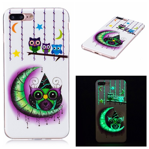 Ultra Thin Luminous Clear Soft Silicone TPU Phone Back Case for iPhone 6/7/6s/Plus-Moon