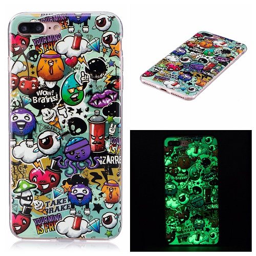 Ultra Thin Luminous Clear Soft Silicone TPU Phone Back Case for iPhone 6/7/6s/Plus-Cartoon Pattern