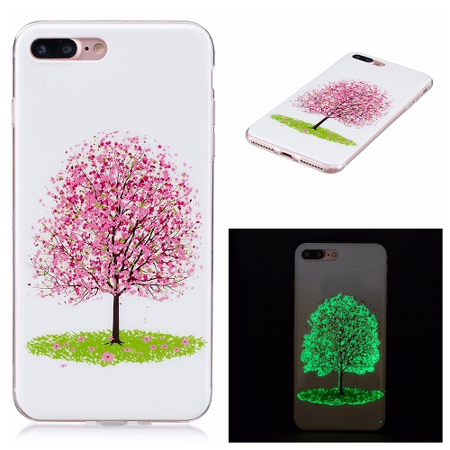 Ultra Thin Luminous Clear Soft Silicone TPU Phone Back Case for iPhone 6/7/6s/Plus-Cherry Tree