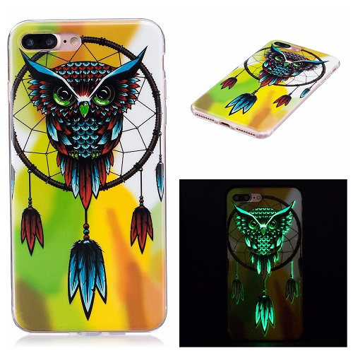 Ultra Thin Luminous Clear Soft Silicone TPU Phone Back Case for iPhone 6/7/6s/Plus-Owl