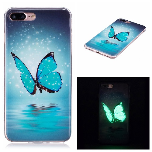 Ultra Thin Luminous Clear Soft Silicone TPU Phone Back Case for iPhone 6/7/6s/Plus-Butterfly