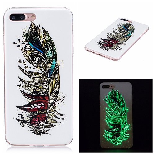 Ultra Thin Luminous Clear Soft Silicone TPU Phone Back Case for iPhone 6/7/6s/Plus-Feather
