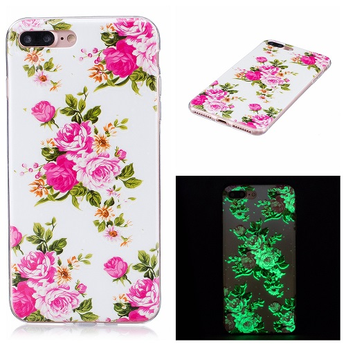 Ultra Thin Luminous Clear Soft Silicone TPU Phone Back Case for iPhone 6/7/6s/Plus-Peony