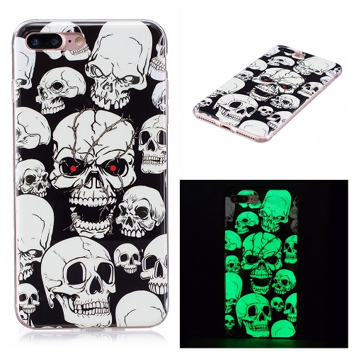 Ultra Thin Luminous Clear Soft Silicone TPU Phone Back Case for iPhone 6/7/6s/Plus-Skull