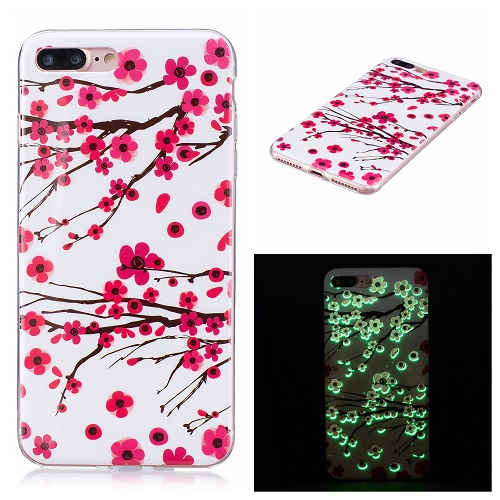 Ultra Thin Luminous Clear Soft Silicone TPU Phone Back Case for iPhone 6/7/6s/Plus-Plum-Blossom