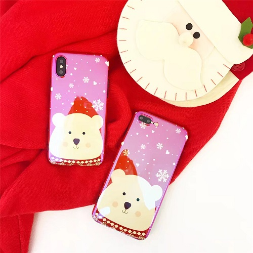 Lovely White Bear Blu-ray Laser Phone Case Sparkling Red Soft TPU Case For iPhone 6 7 8/Plus/X