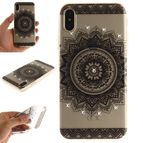 Lovely Floral Pattern Embedded Crystal Diamonds Soft TPU Protective Back Case Cover for iPhone 6 7 8/Plus/X-Datura