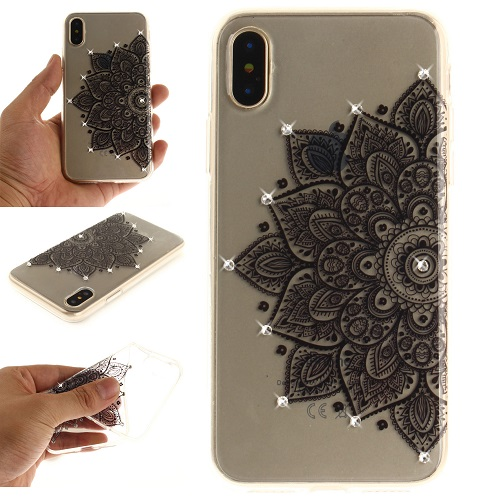 Lovely Floral Pattern Embedded Crystal Diamonds Soft TPU Protective Back Case Cover for iPhone 6 7 8/Plus/X-Half Flower
