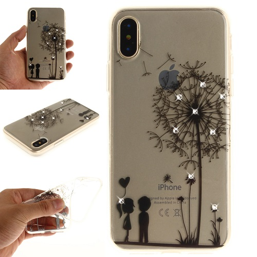 Lovely Floral Pattern Embedded Crystal Diamonds Soft TPU Protective Back Case Cover for iPhone 6 7 8/Plus/X-Dandelion