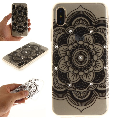 Lovely Floral Pattern Embedded Crystal Diamonds Soft TPU Protective Back Case Cover for iPhone 6 7 8/Plus/X-Black Sunflower
