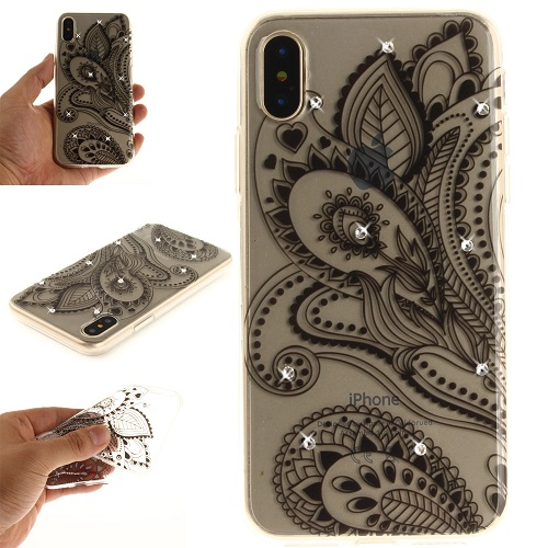 Lovely Floral Pattern Embedded Crystal Diamonds Soft TPU Protective Back Case Cover for iPhone 6 7 8/Plus/X-Peacock Flower