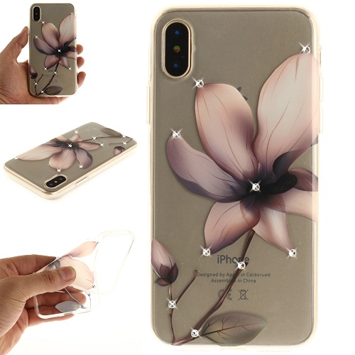 Lovely Floral Pattern Embedded Crystal Diamonds Soft TPU Protective Back Case Cover for iPhone 6 7 8/Plus/X-Magnolia