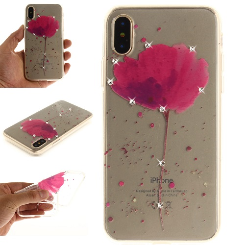 Lovely Floral Pattern Embedded Crystal Diamonds Soft TPU Protective Back Case Cover for iPhone 6 7 8/Plus/X-Purple Orchid