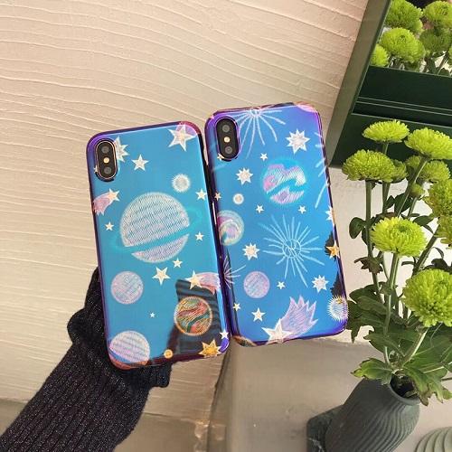 Cute Cartoon Blue Ray Laser Glitter Soft TPU Case Back Cover for iPhone 6 7 8/Plus/X