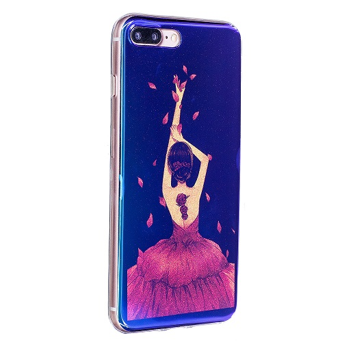 Luxury Fashion Rose Girl Shine Blu-ray Laser Soft TPU Silicone Protective Phone case for iPhone 6 7 8/Plus/X